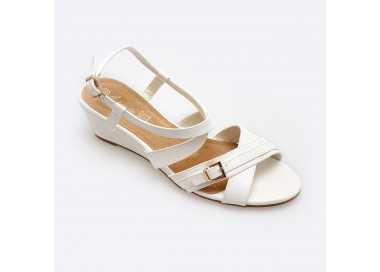Sandale compensée Liz blanche