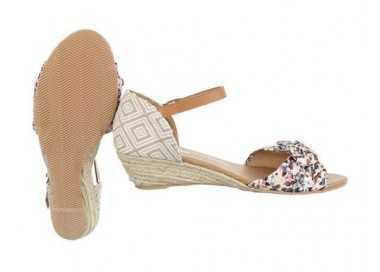 Sandale compensée beige Honorine