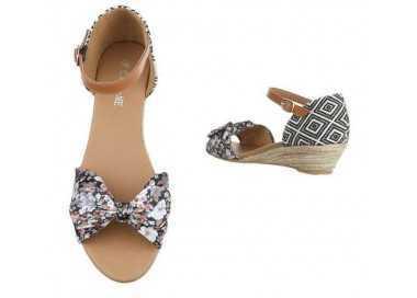 Sandale compensée noir Rosace