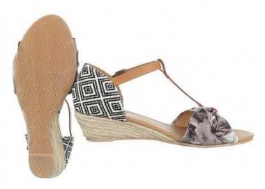 Sandales compensées beige Byzance