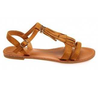 Sandale femme camel avec franges