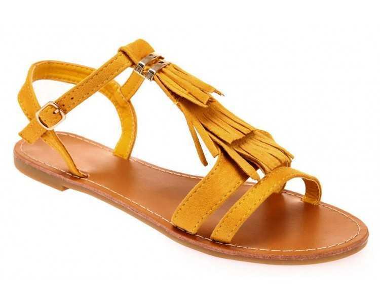 sandale-femme-jaune-avec-franges
