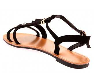 Sandale femme noire avec franges