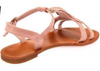 Sandale femme rose avec franges