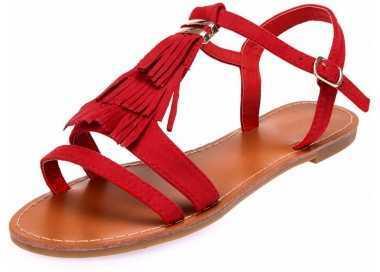 Sandale femme rouge avec franges