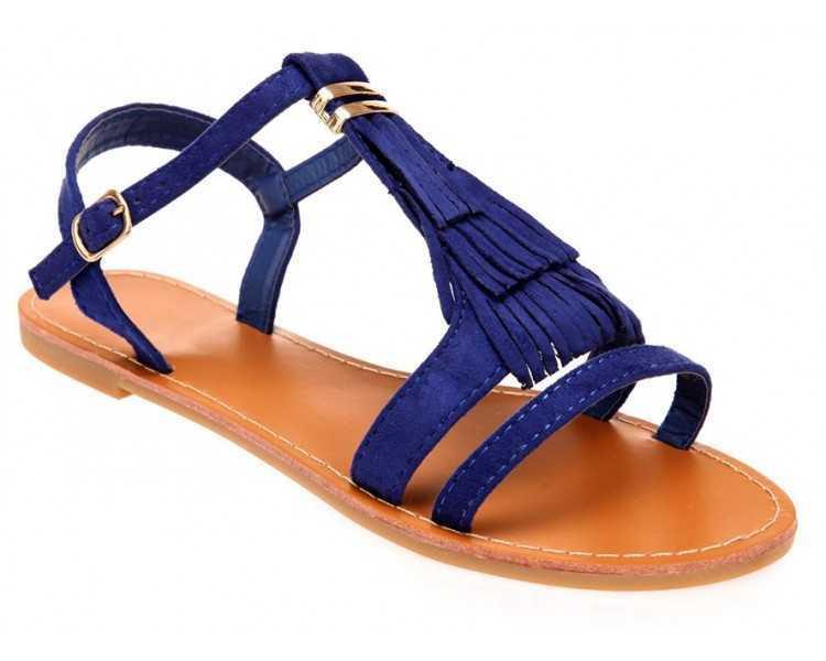 Sandale femme bleu avec franges