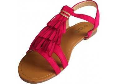 Sandale femme fushia avec franges