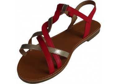 Sandale-femme-grande-taille-rouge