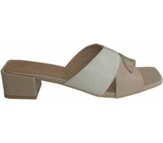 Sandale à talon beige-blanc